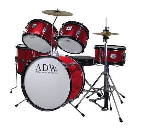Bateria ADW Junior 5 piezas, con sillin color rojo
