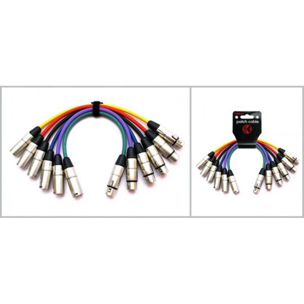 JUEGO 6 CABLES MICROFONO 0,6M XLR Macho-Hembra