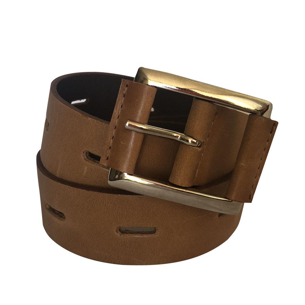 Cinturon de cuero hebilla cuadrada