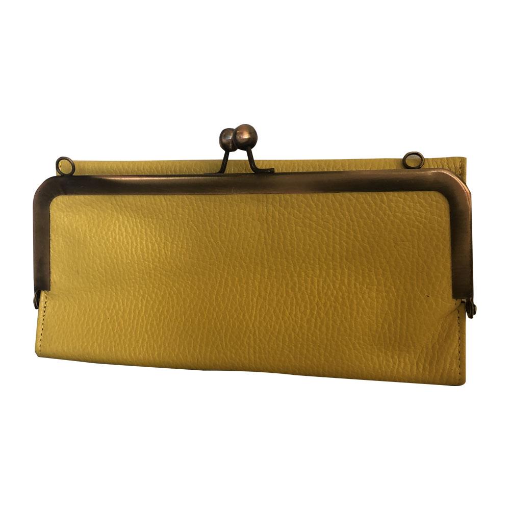 Billetera cartera de cuero amarillo