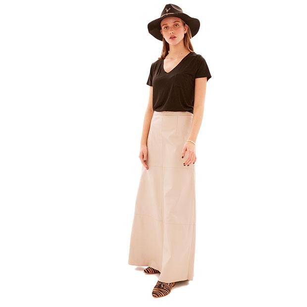 Falda cuero larga hueso
