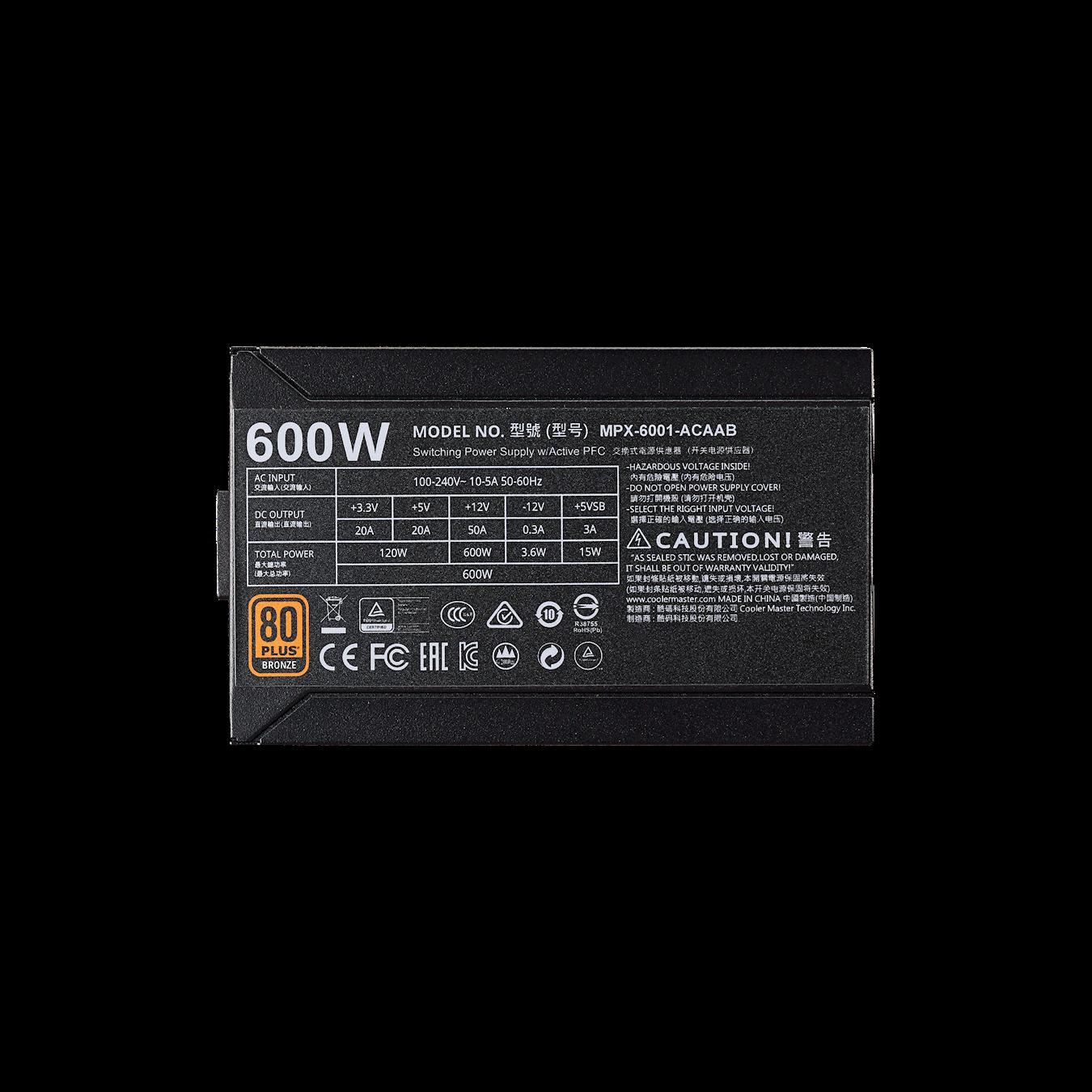 FUENTE REAL 600W 80PLUS BRONZE - COOLER MASTER