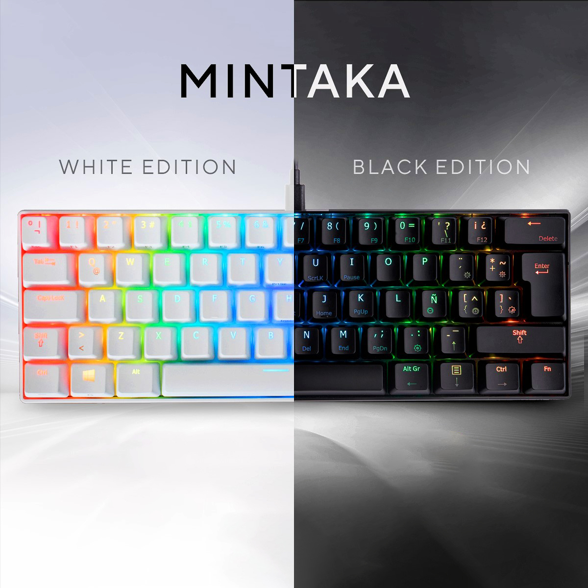 TECLADO MINTAKA MECANICO RGB - WHITE / BLACK