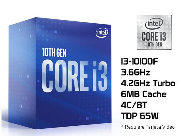 INTEL CORE I3 10100F / 4 NUCLEOS - 8 HILOS A 4.3GHZ