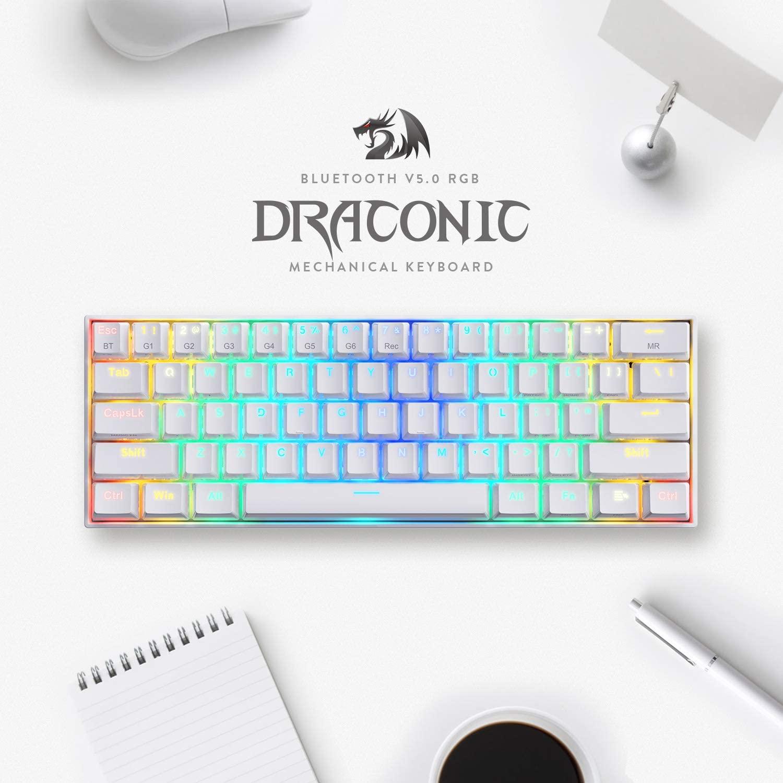 DRACONIC RGB WHITE 60% MECANICO - REDRAGON