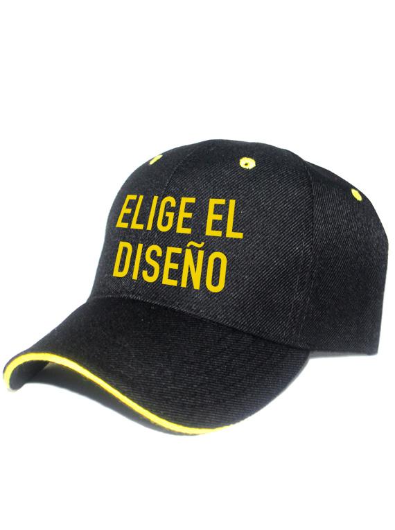 Gorra DRIL - Negra - Linea amarilla