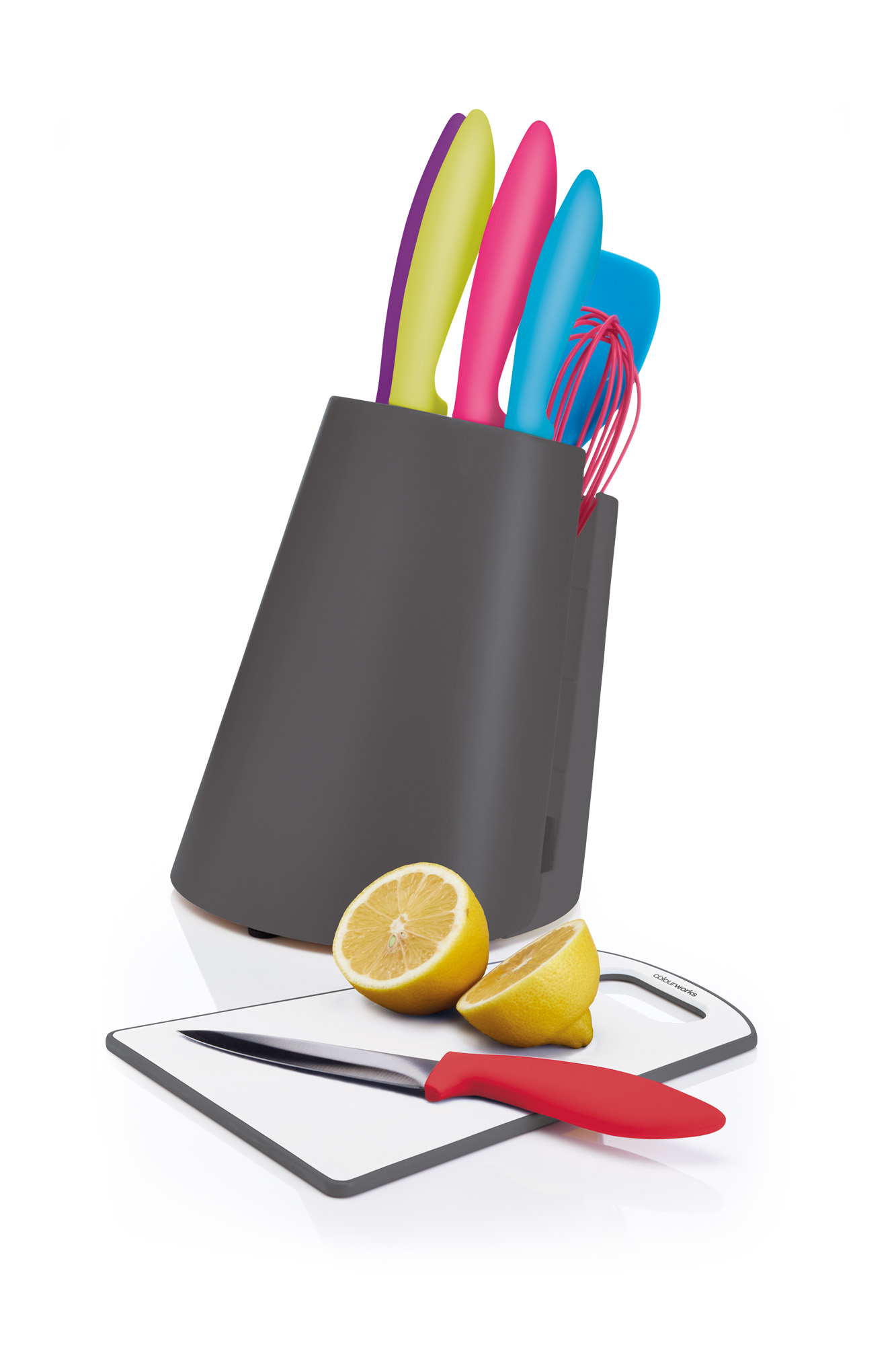 SET CUCHILLOS CON TABLA Y PORTA UTENSILIOS COLOURWORKS