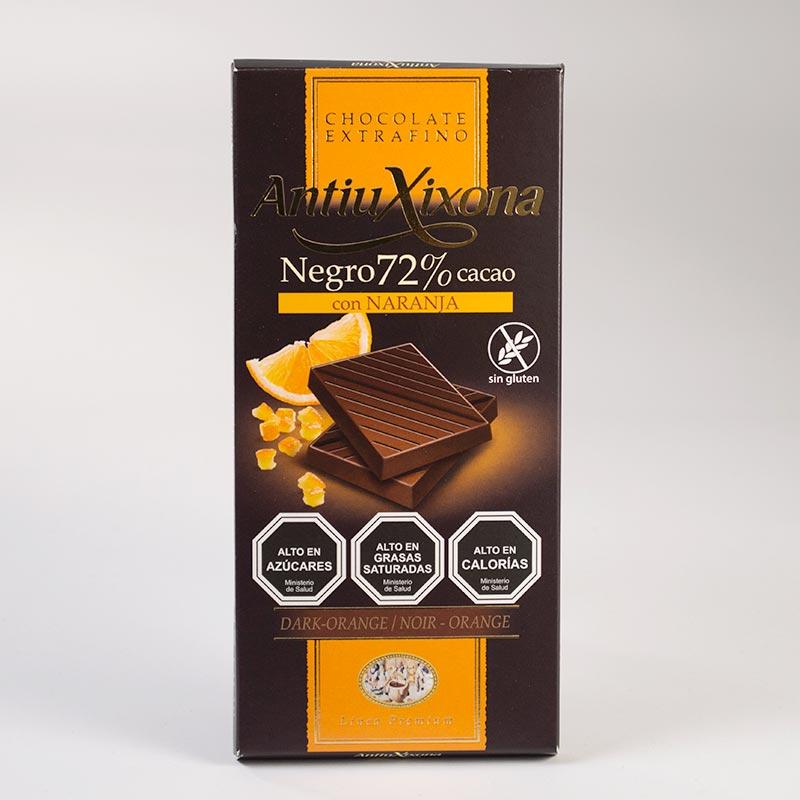Chocolate 72% con naranja - 100 grs.