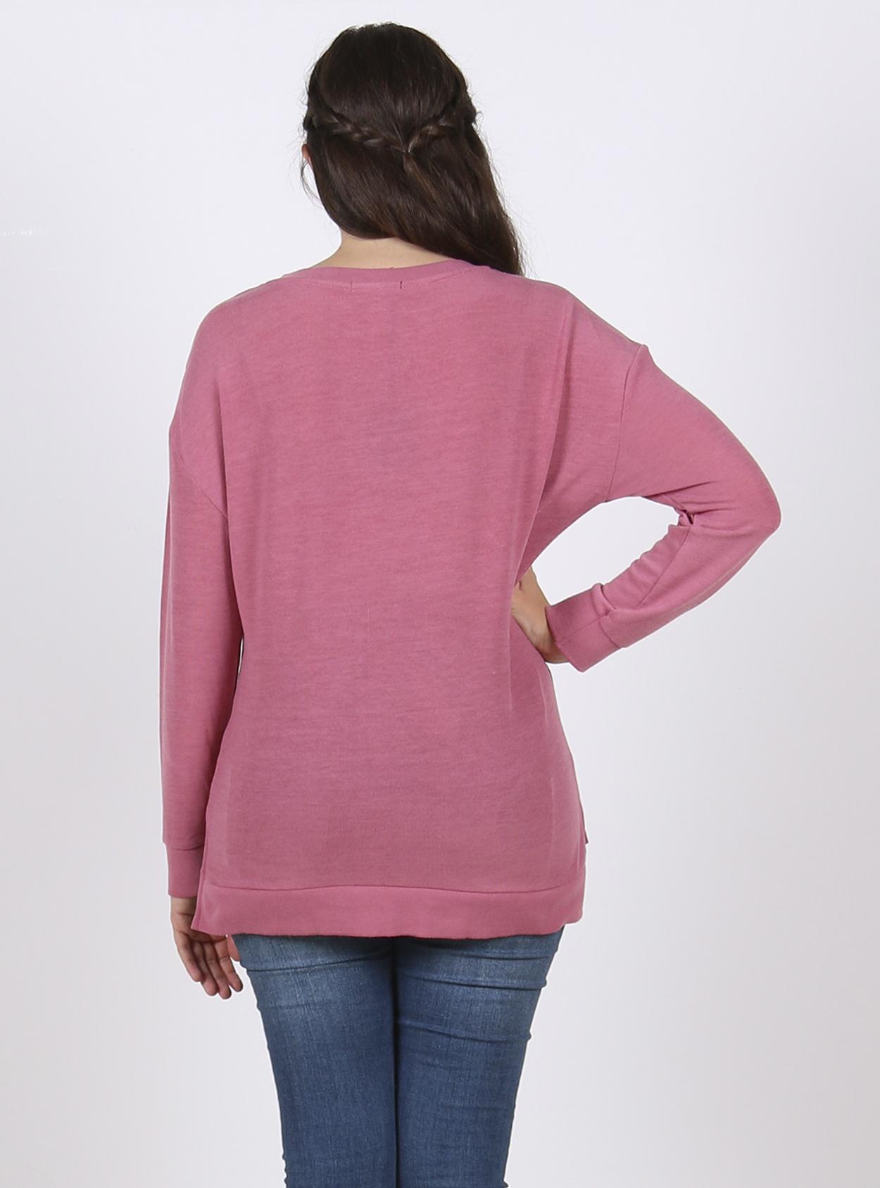 Chaleco manga larga rosada