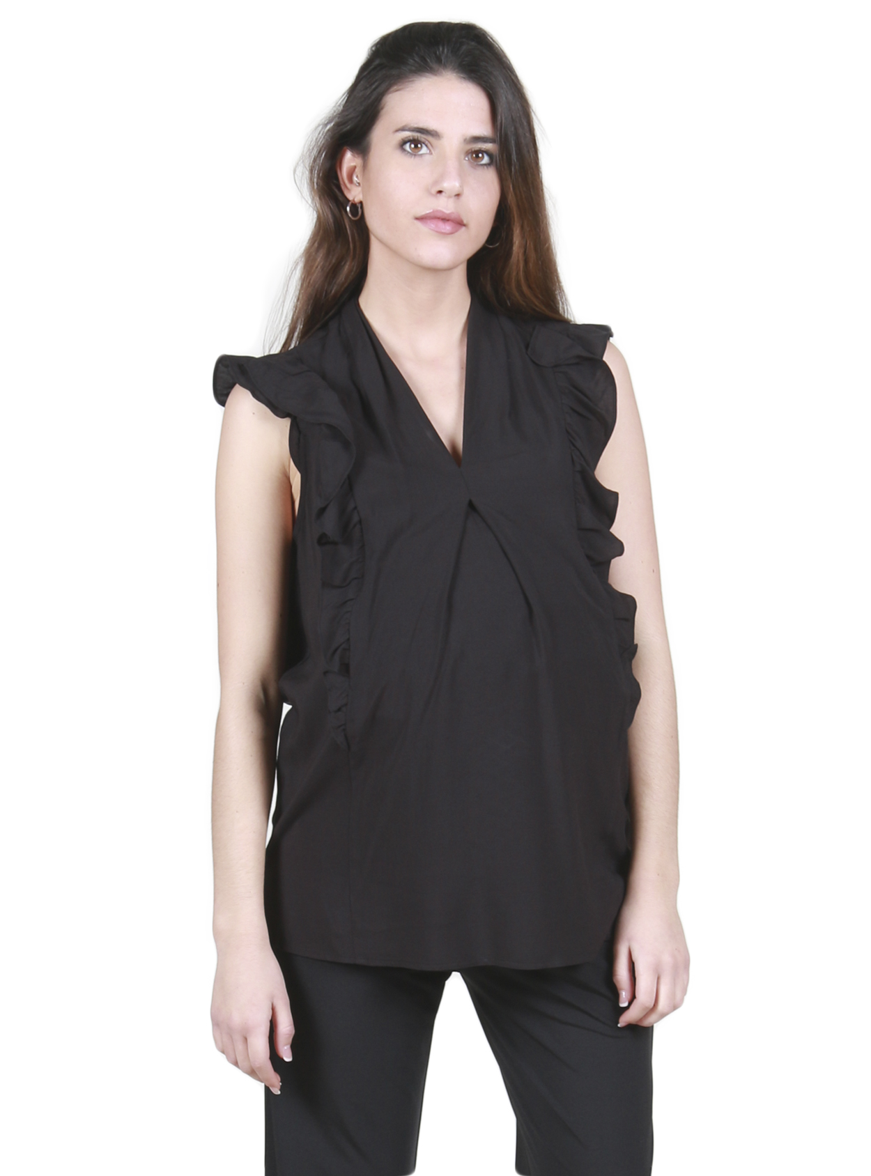 Blusa sin mangas lactancia negra