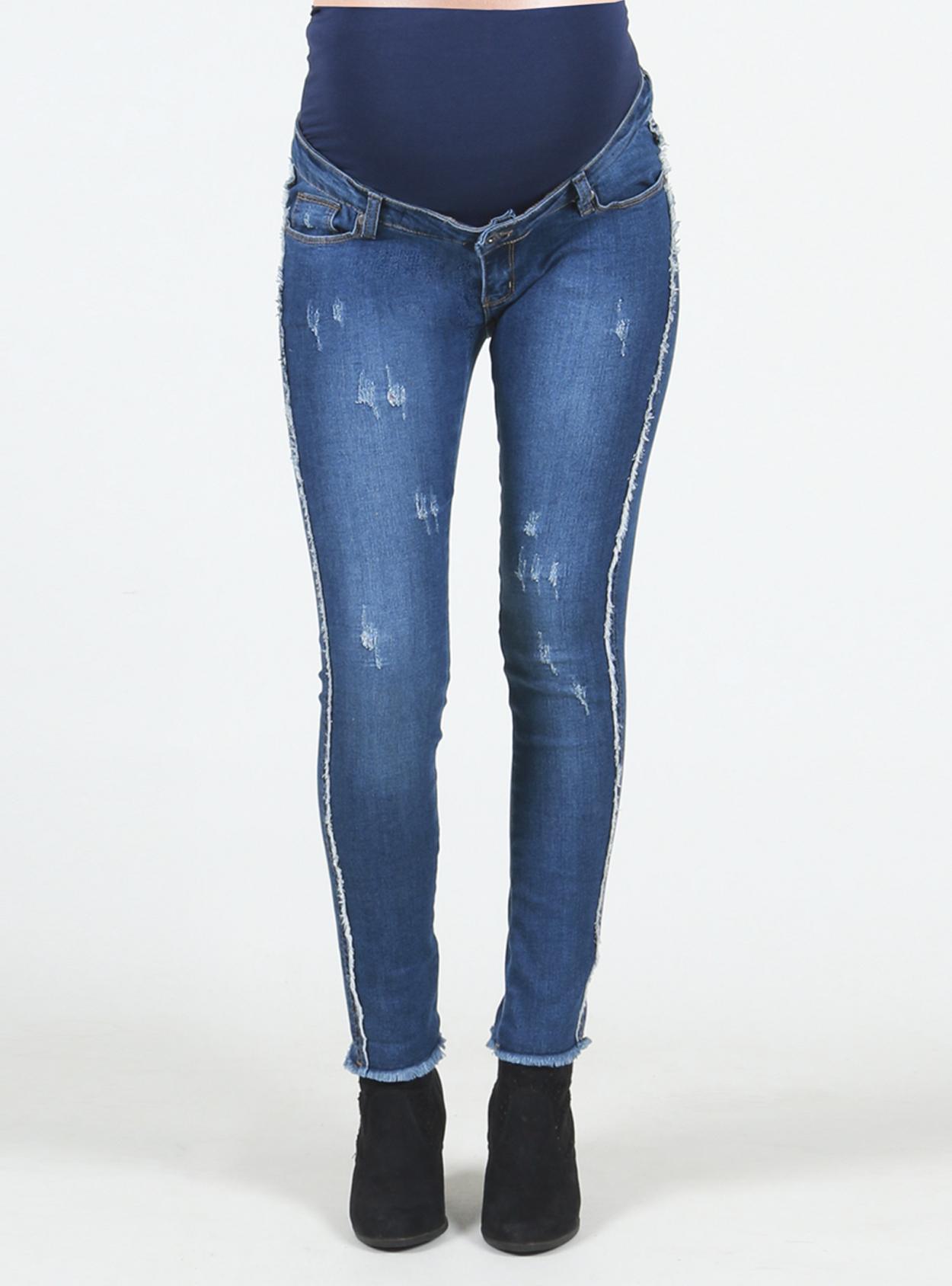 Jeans maternal skinny con flecos
