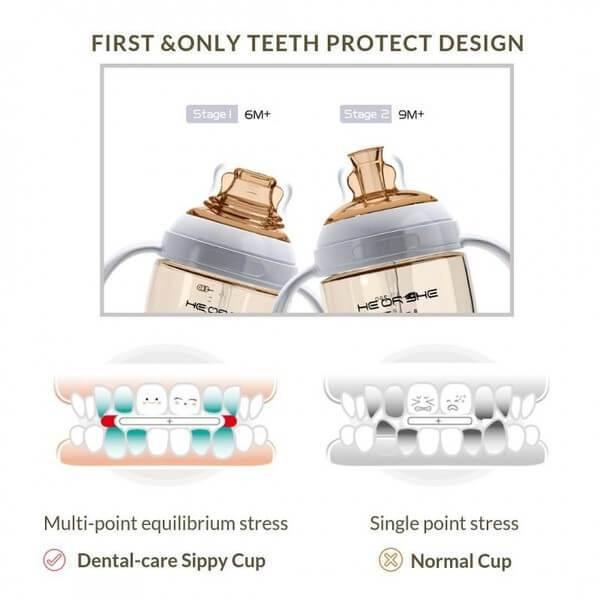 Vaso de entrenamiento de protección dental celeste