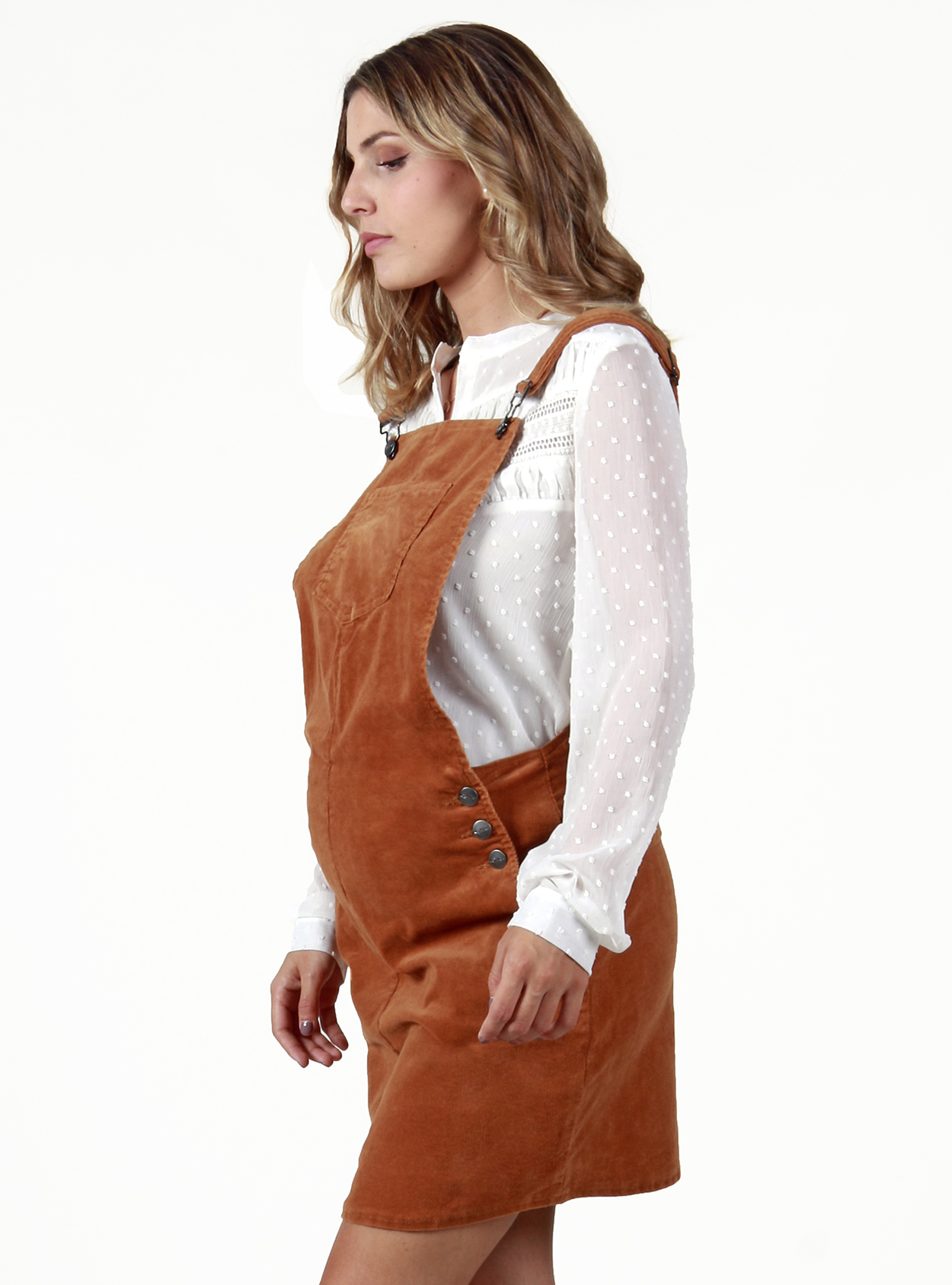 Vestido café cotelé