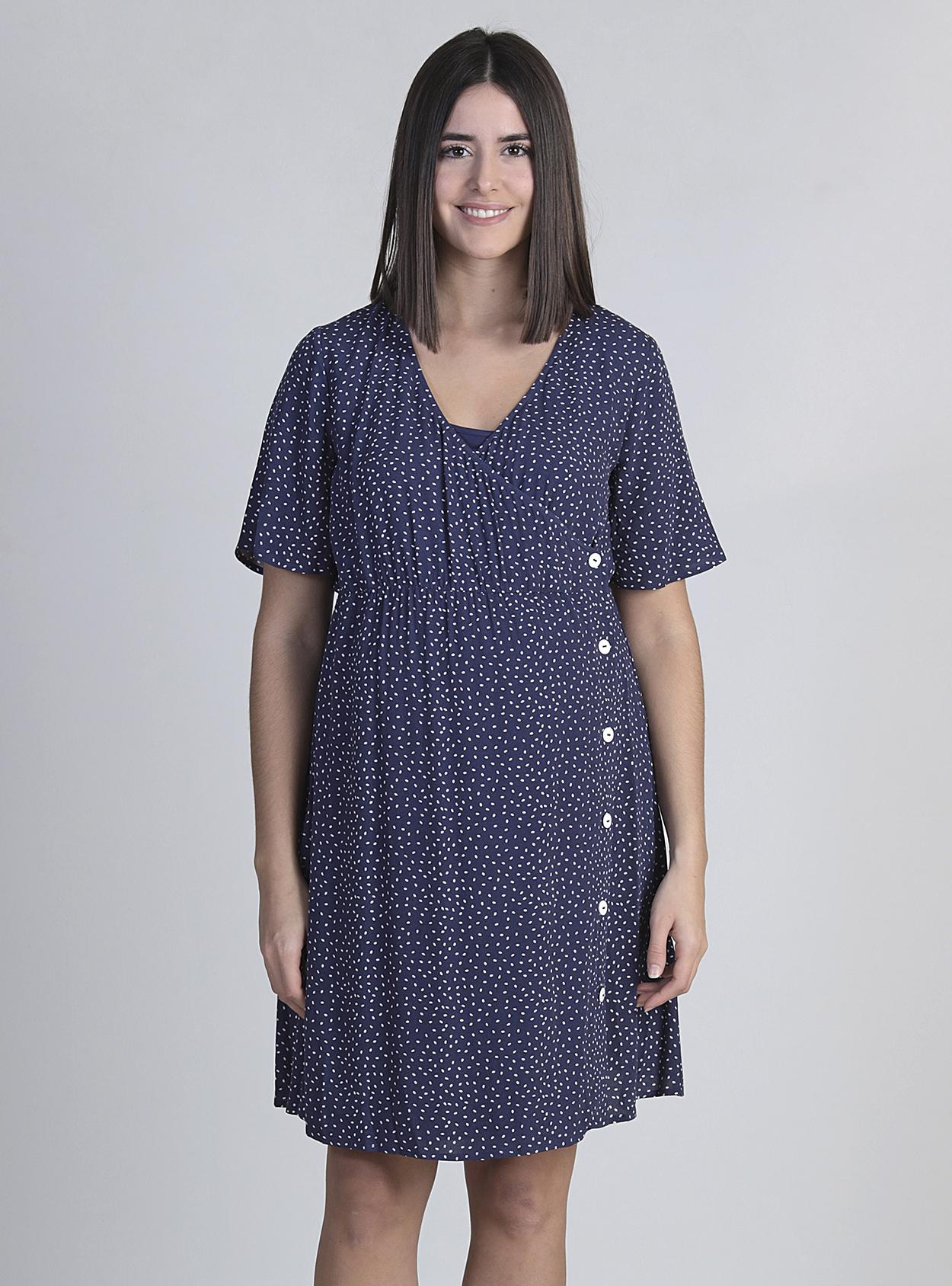 Vestido lactancia cruzado con botones azul
