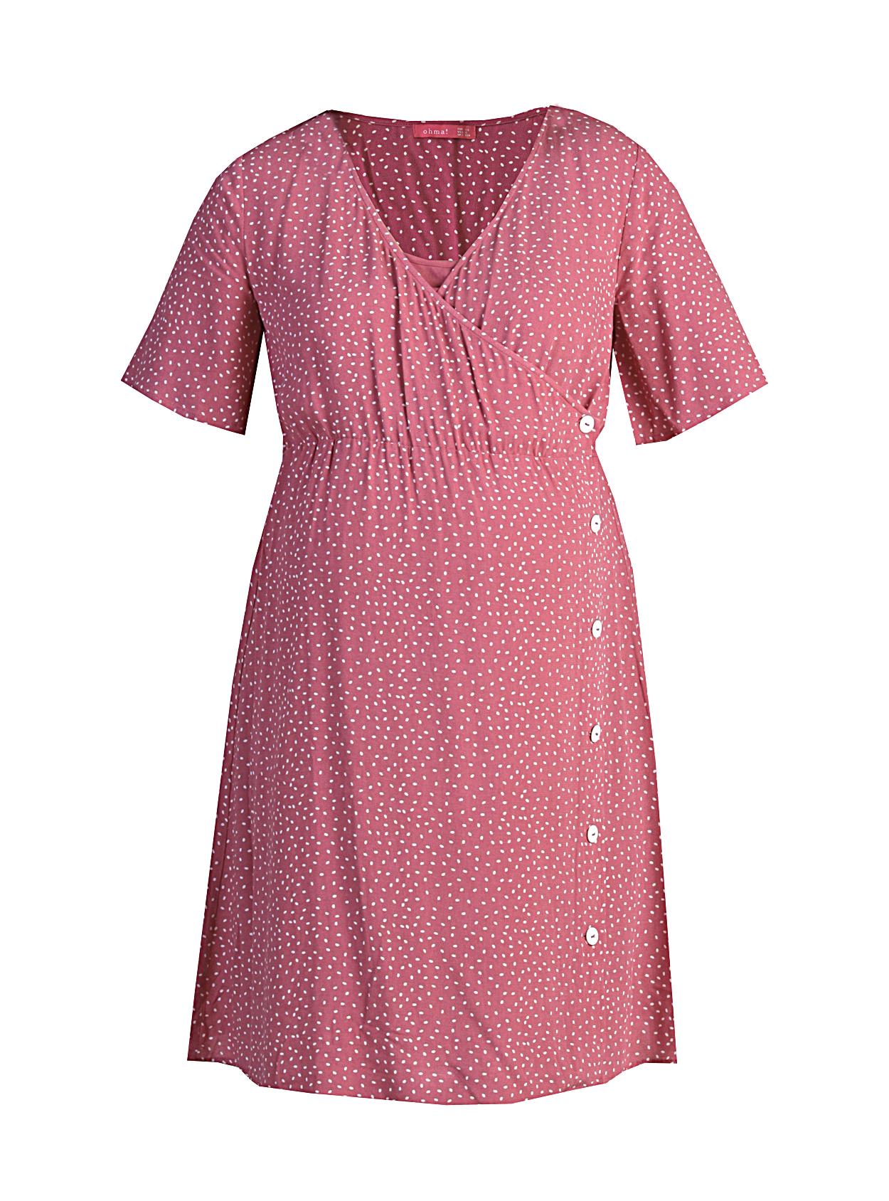Vestido lactancia cruzado con botones rosa