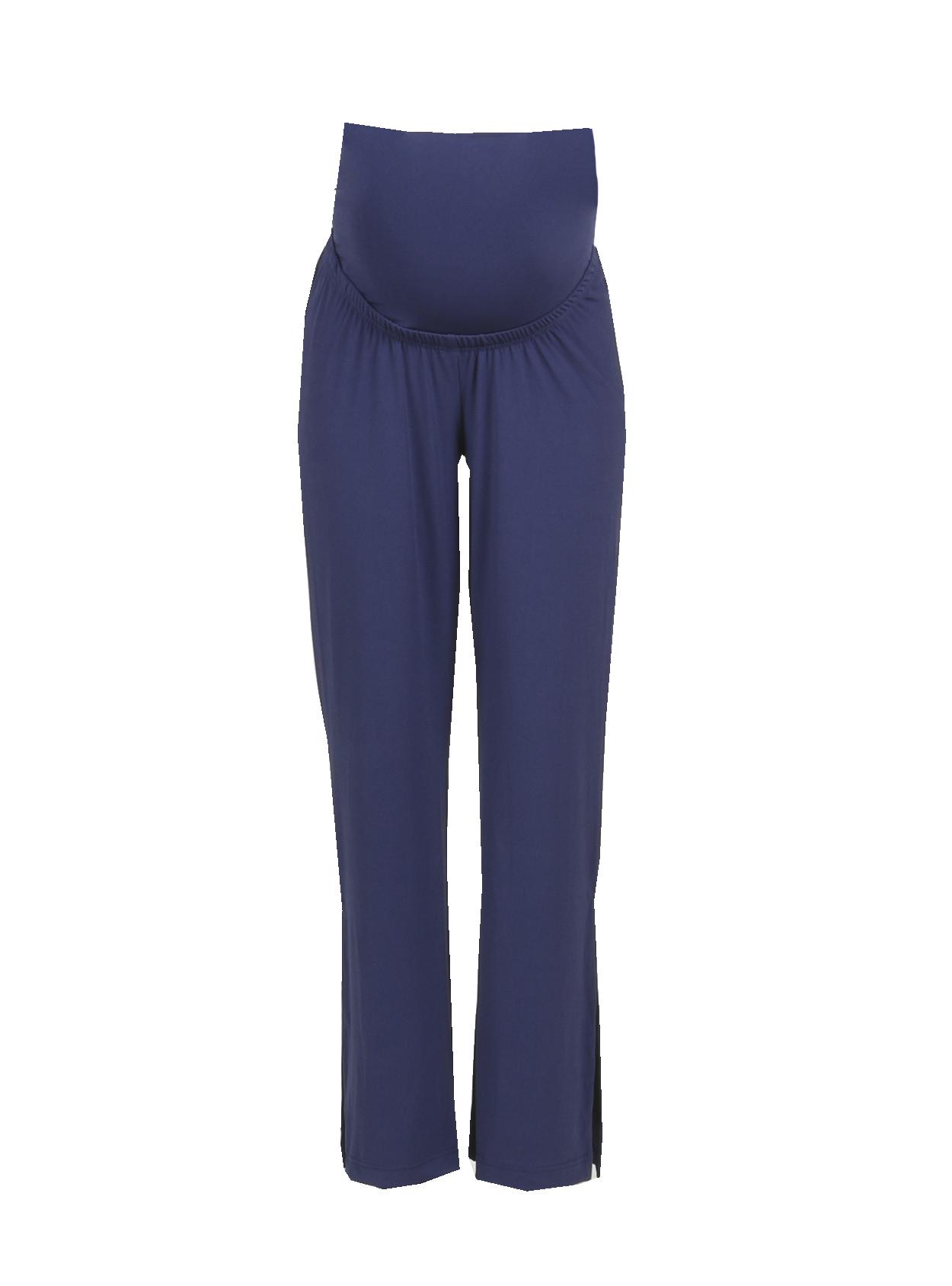 Pantalon ancho de crepe azul marino