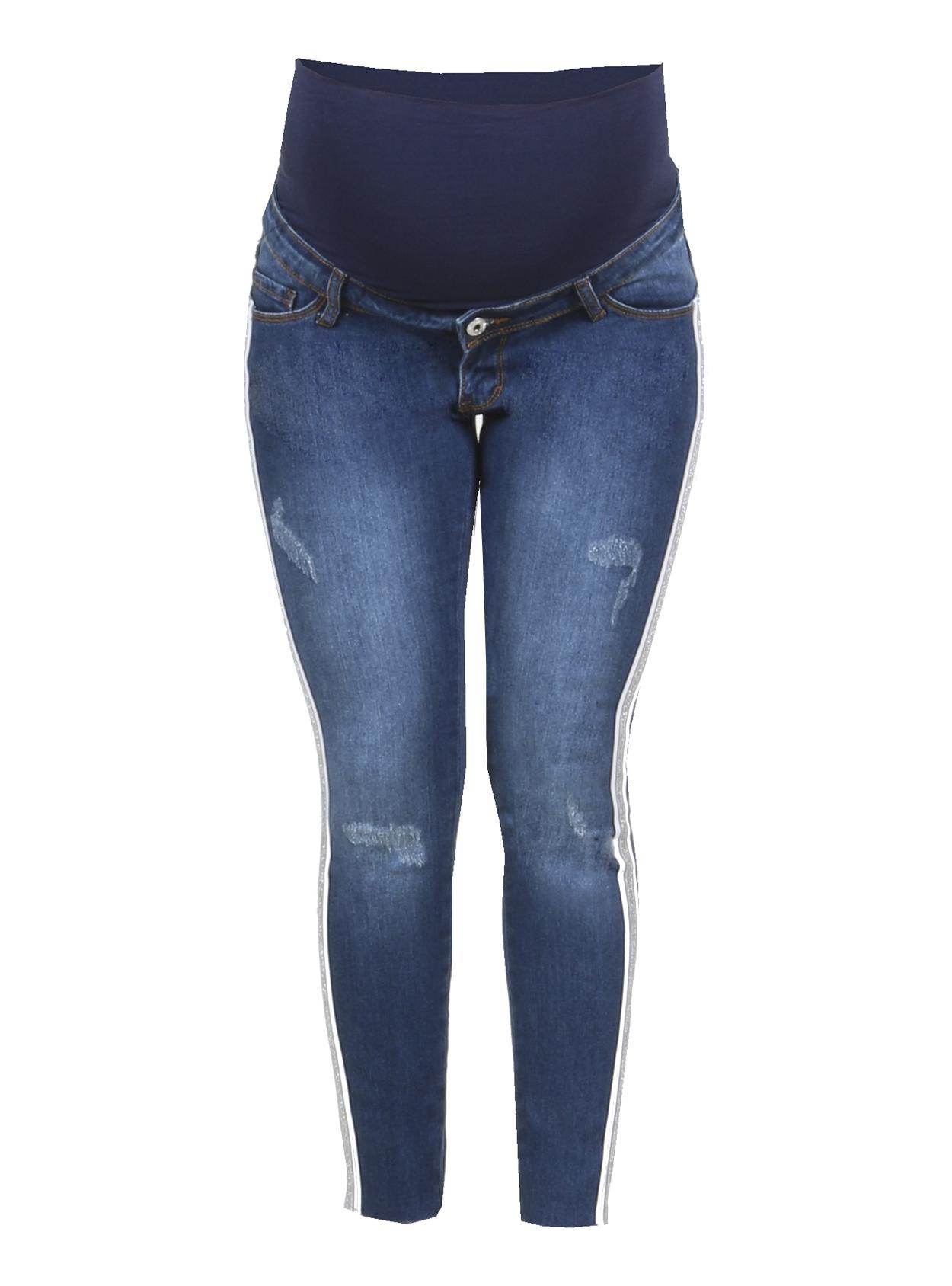 Jeans slim tobillero con tiras