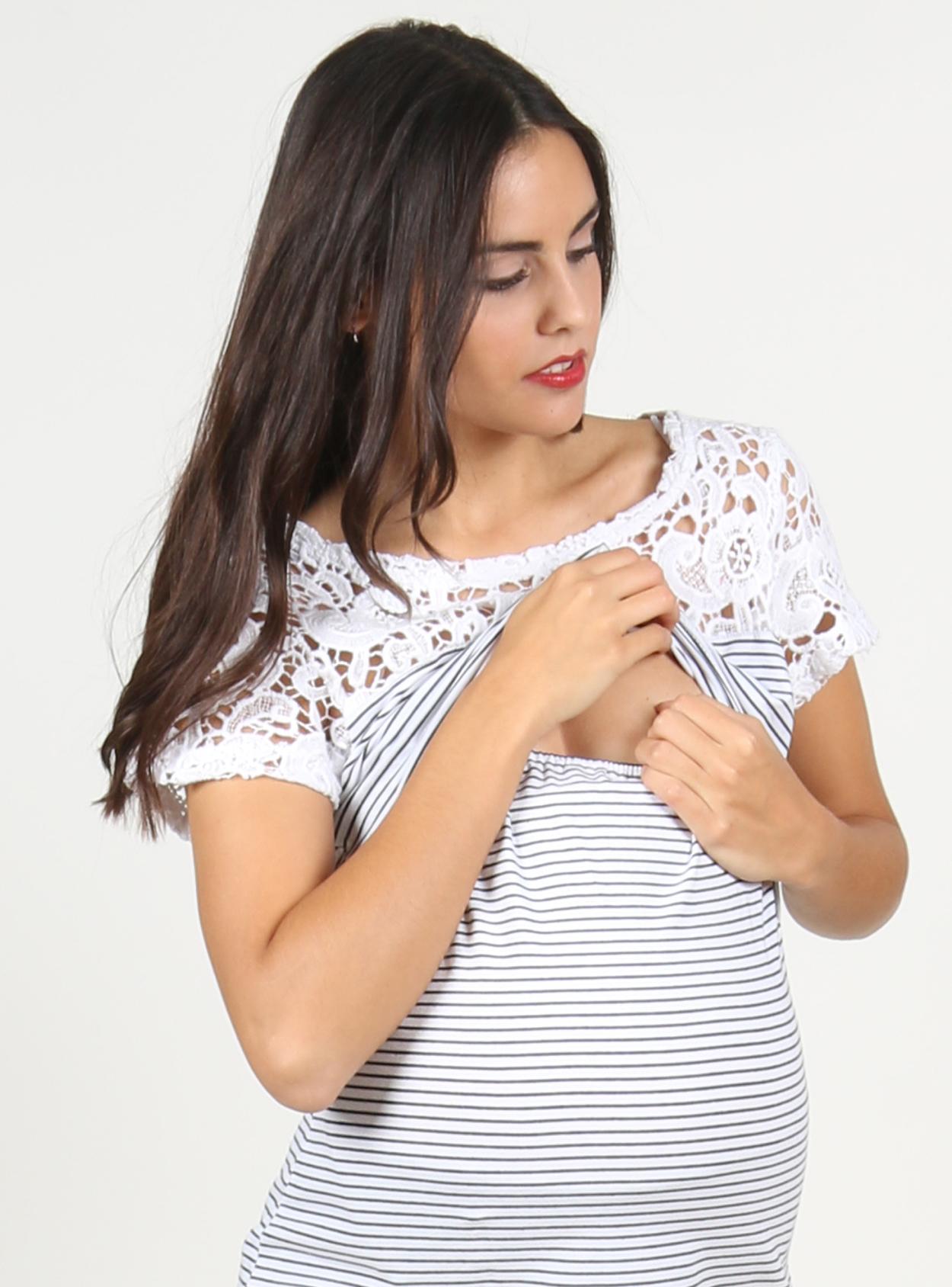 Polera rayas manga corta con crochette