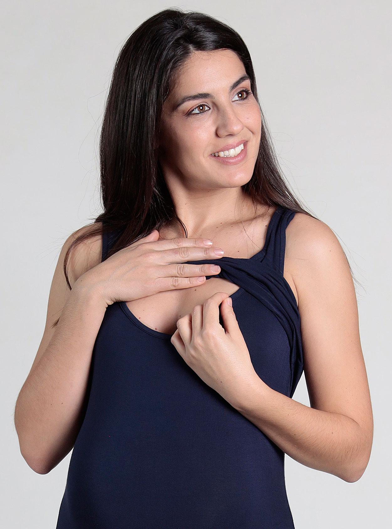 Vestido largo lactancia con apertura