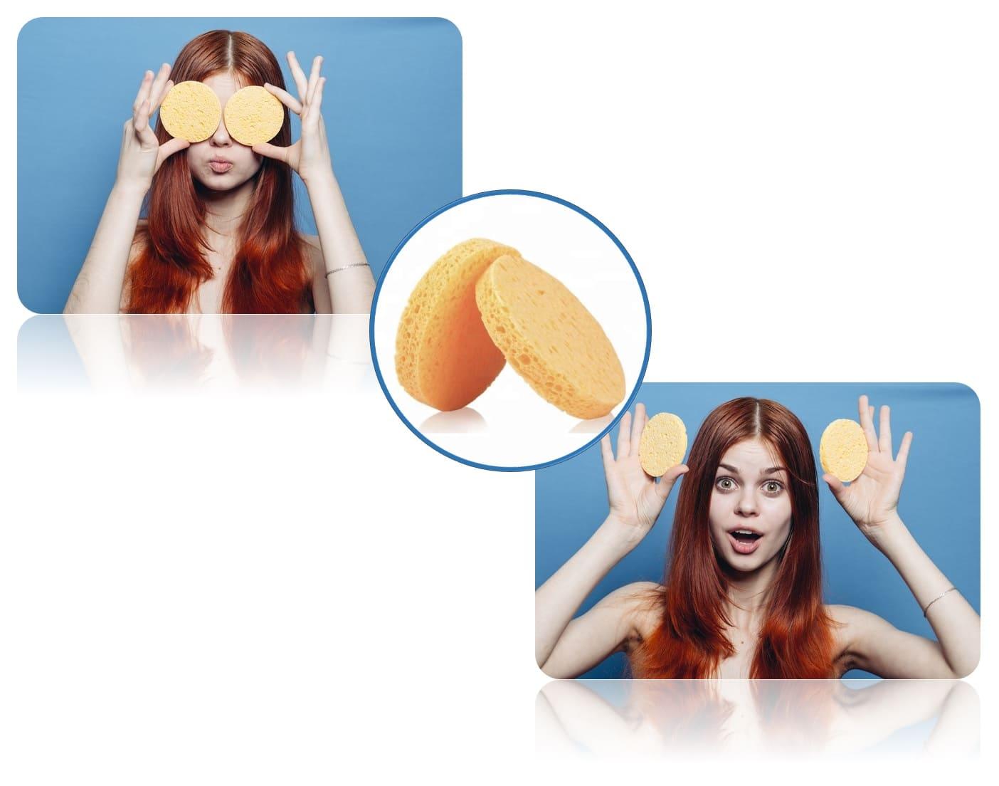 Esponjas exfoliantes faciales redondas amarillas comprar set pack kit 2