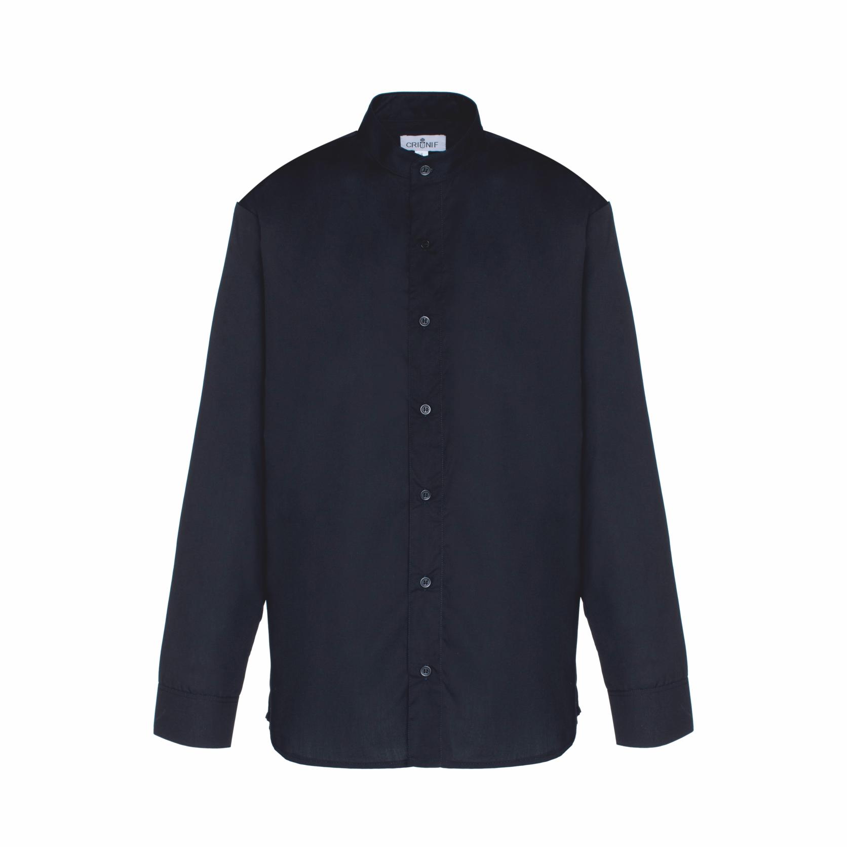Camisa de Homem com Gola Chinesa na cor Preta