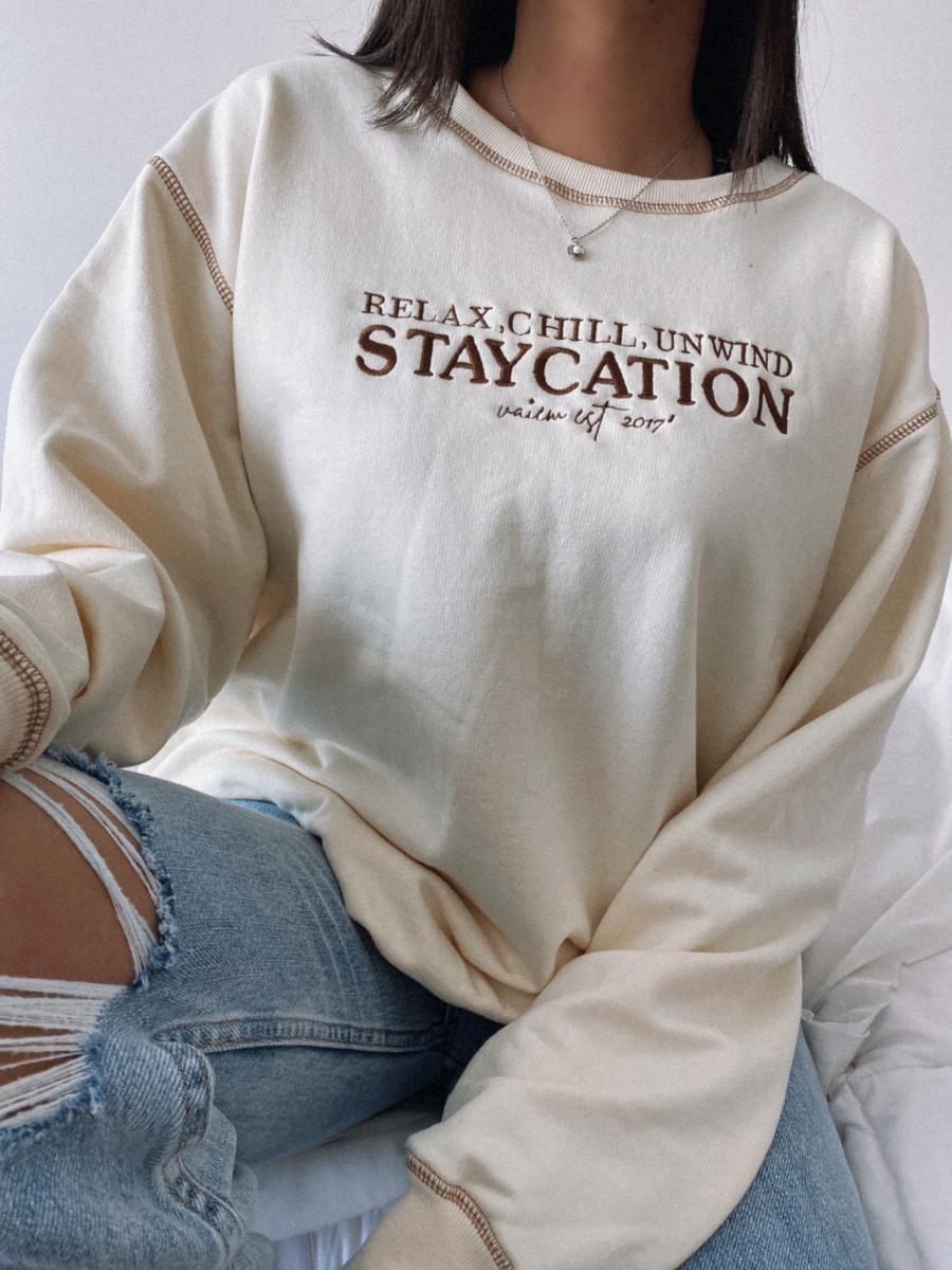 STAYCATION  HOODIE-OVERSIZE POLO BEIGE
