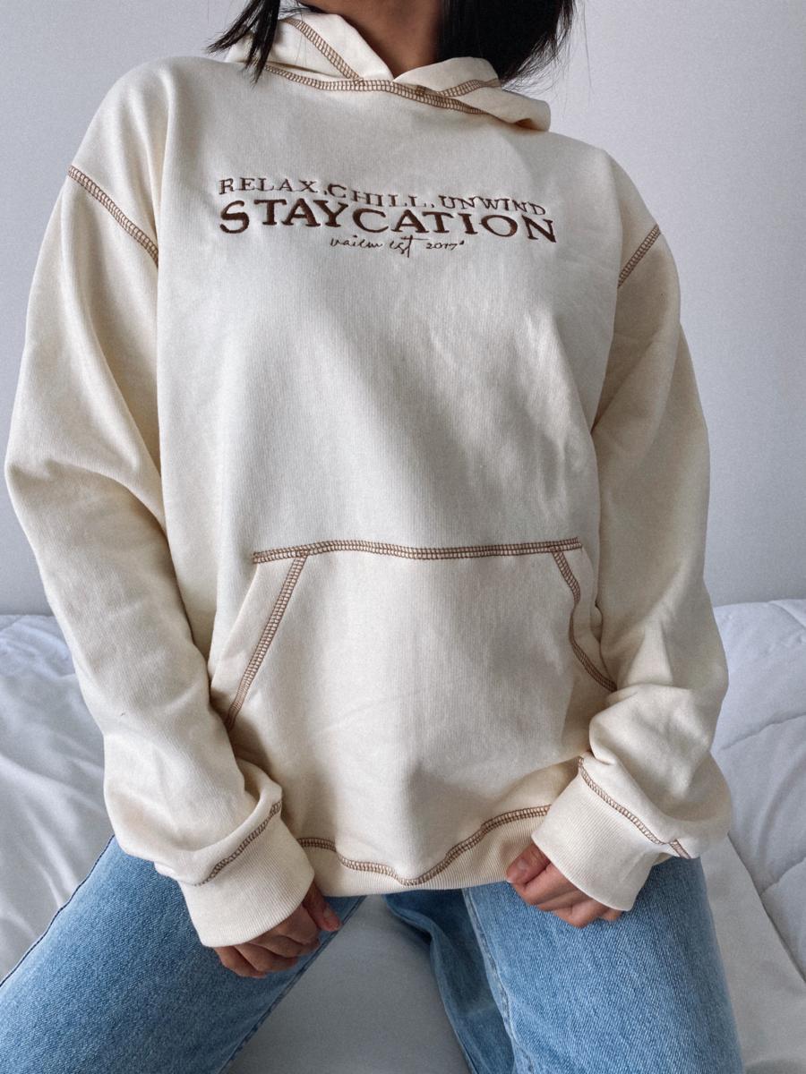 STAYCATION HODDIE-OVERSIZE CANGURO BEIGE
