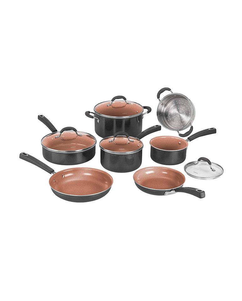 Batería Cuisinart 11 piezas cerámica titanio Negro
