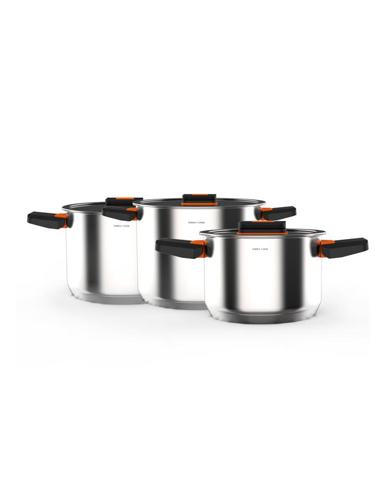 Set de ollas Simple Cook Lyon 6 pzs Acero Inoxidable