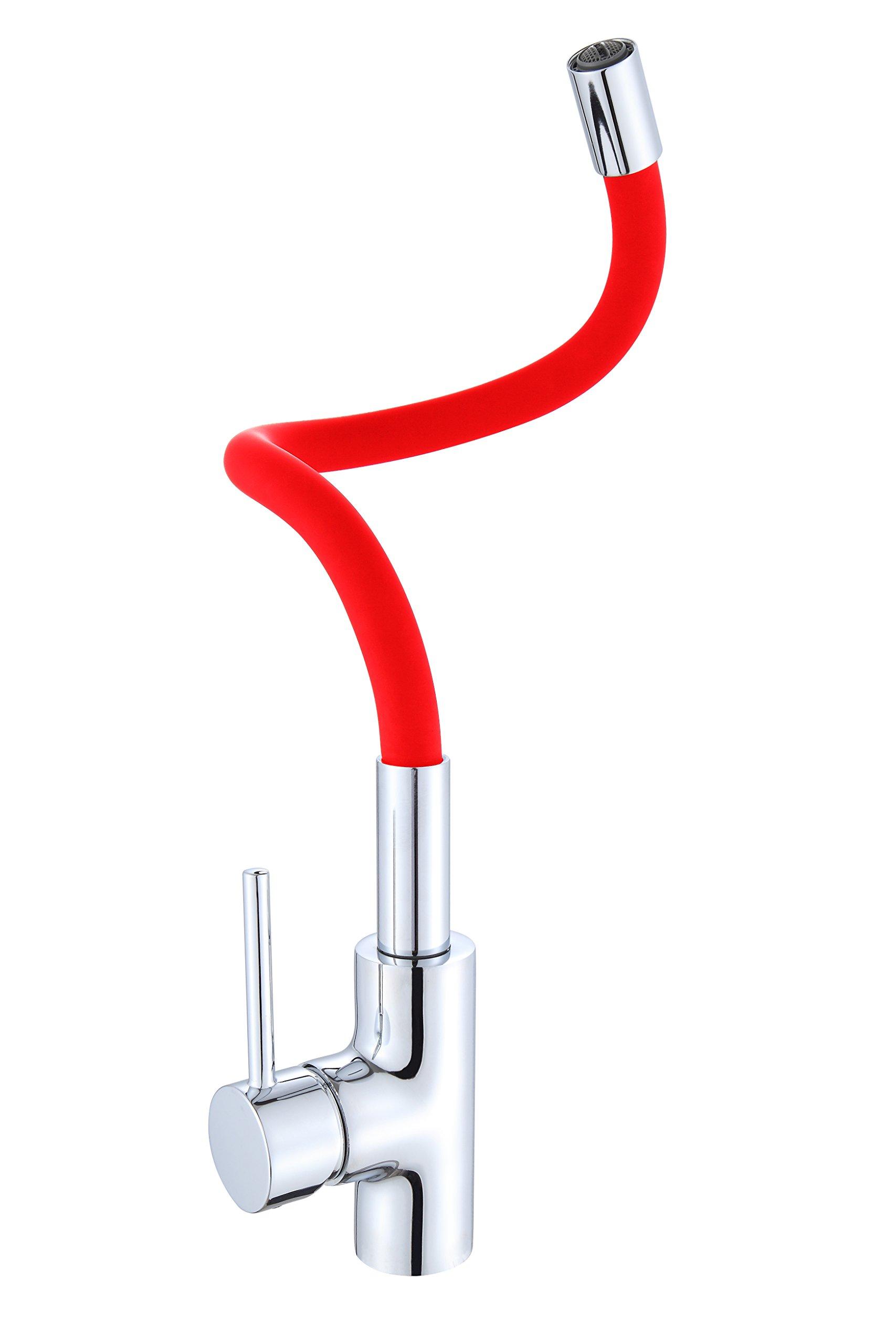 Llave Monomando Lavaplatos Cuello Flexible Rojo