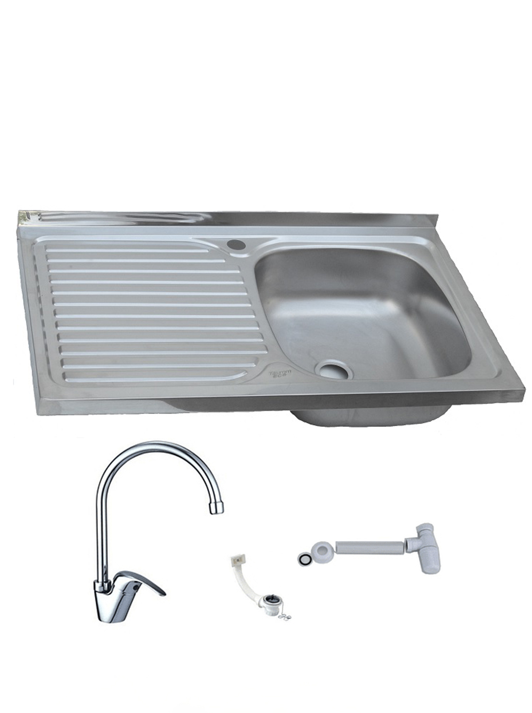 Lavaplatos Simple Sobreponer 80x50 Inoxidable Izquierdo + Monomando + Sifón