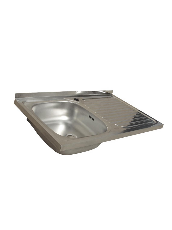 Lavaplatos Simple Sobreponer 80x50 Inoxidable Derecho + Monomando + Sifón