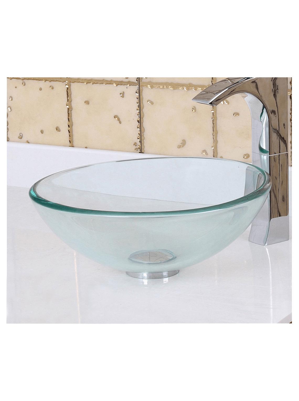 Bowl Lavatorio Cristal Transparente 41.5 Cm + Sifón + Desague