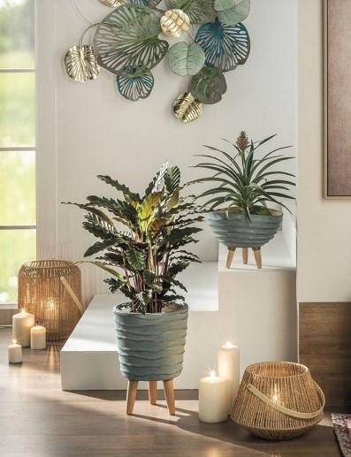 Linea - Vaso em Cerâmica e Madeira - Alto