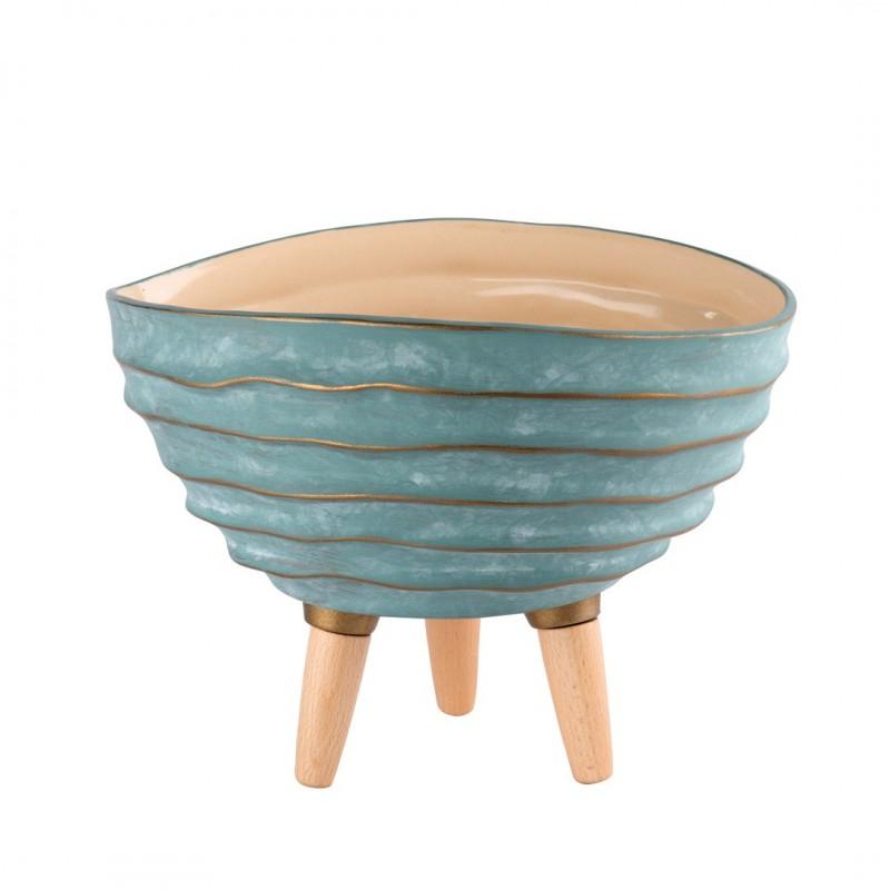Linea - Vaso em Cerâmica e Madeira