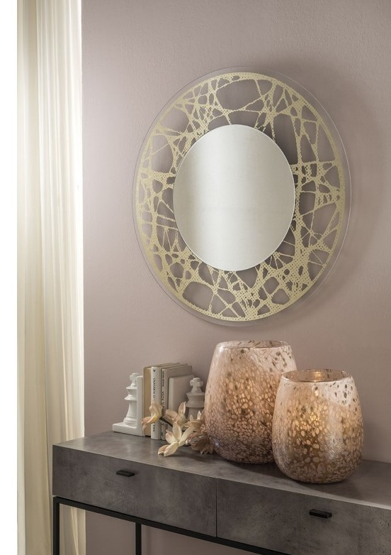 Moss - Mirror with Silkscreen Glass Frame