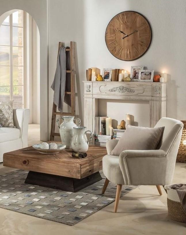 Vita - Fabric and Wood Armchair - Beige