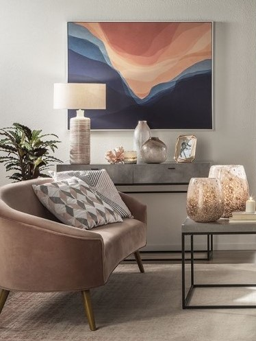 Glam - Fabric and Wood Sofa - Pink