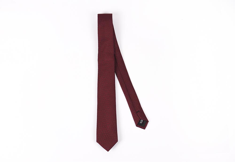 Corbata Bordeaux puntos rojos