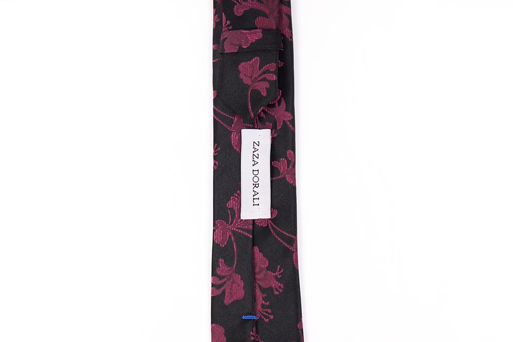 Corbata Negro floreado bordeaux
