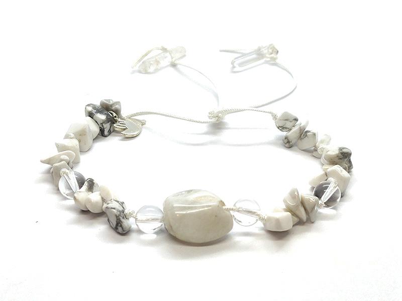 Pulsera Frecuencia Blanco - Labradorita blanca, Howlita,