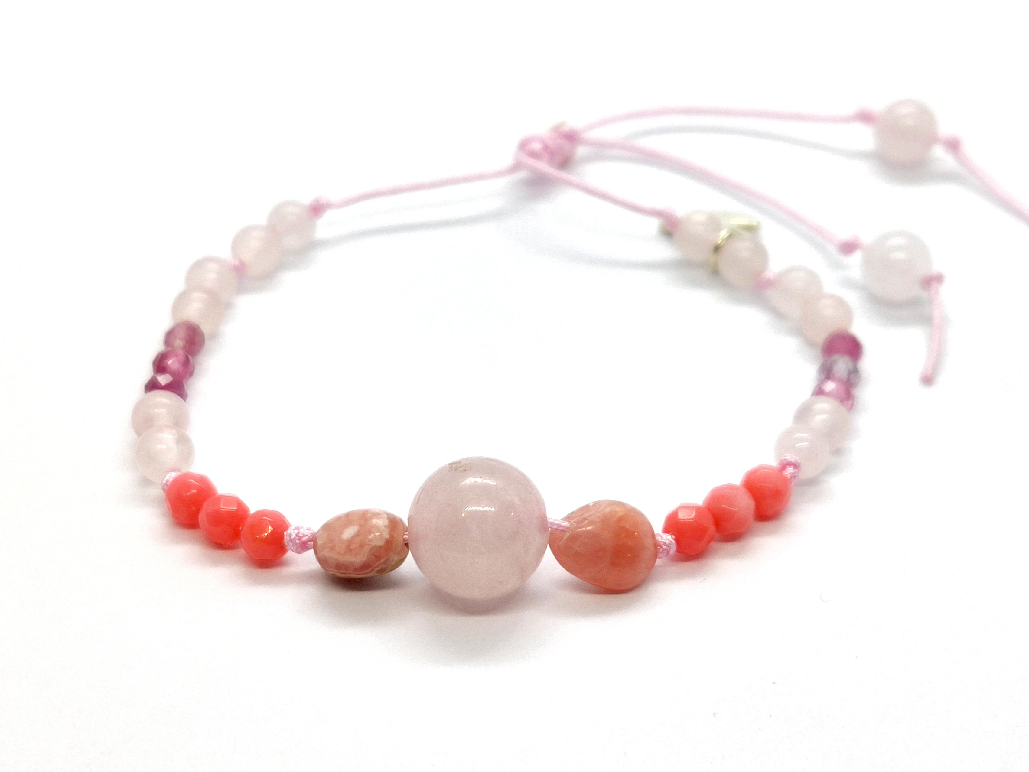 Pulsera Frecuencia Rosa - Cuarzo Rosa, Rodocrosita, Turmalina rosa, Coral rosa